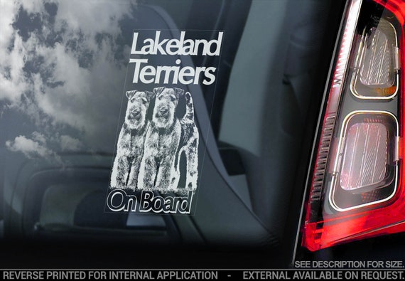 Lakeland Terriers on Board - Car Window Sticker - Terrier Dog Decal Bumper Sign - V02