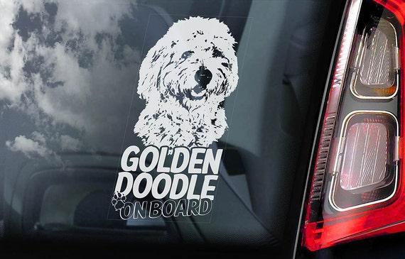 Goldendoodle on Board - Car Window Sticker - Golden doodle Dog Sign Decal -V01