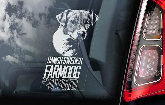 Danish-Swedish Farmdog on Board - Car Window Sticker - Dansk-svensk gårdshund Dog Sign Gift Decal - V01