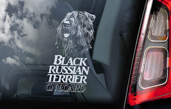 Black Russian Terrier on Board - Car Window Sticker - Tchiorny Dog Sign Decal Art Gift - V02