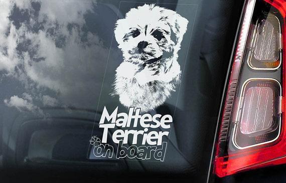 Maltese Terrier on Board - Car Window Sticker - Lion Dog Sign Decal - V01