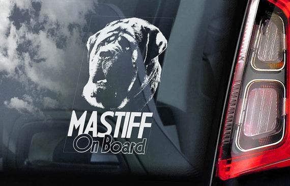 Mastiff on Board - Car Window Sticker - English Molosser Dog Sign Decal - V03