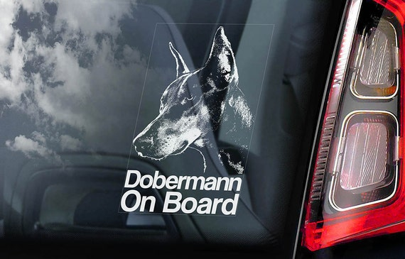 Dobermann on Board - Car Window Sticker - Doberman Pinscher K9 Dog Sign Decal -V01