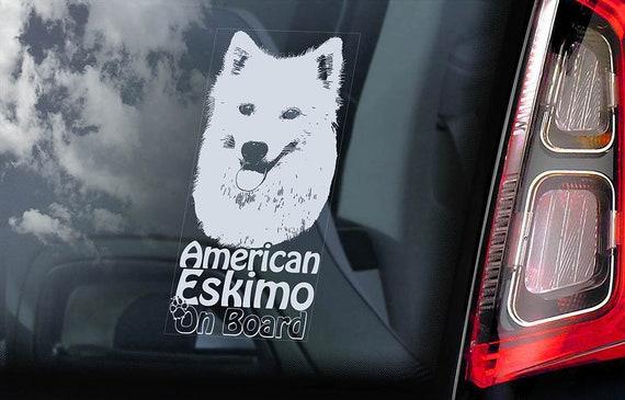 American Eskimo Dog on Board - Car Window Sticker - German Spitz Sign Decal - V01