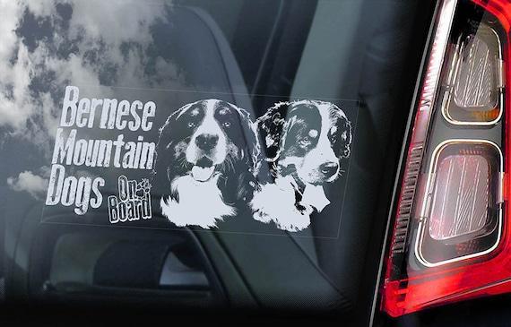 Bernese Mountain Dogs On Board Car Window Sticker Berner Sennenhund Sign Dogs Decal Art Gift V03