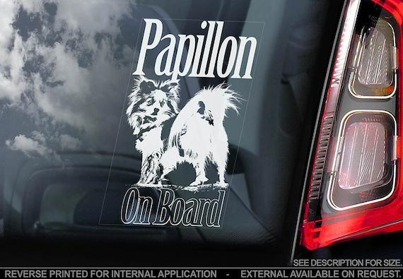 Papillon on Board - Car Window Sticker - Phalène Continental Toy Spaniel Dog Sign Decal - V01