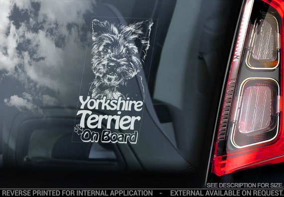 Yorkshire Terrier on Board - Car Window Sticker - Yorkie Bumper Sign Cute Gift Decal - V05