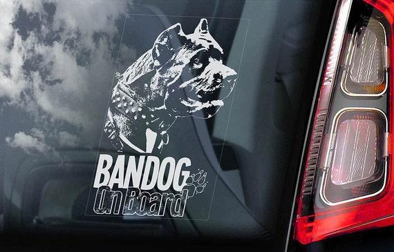 Bandog on Board - Car Window Sticker - Beware of the Dog Bandogge Sign Decal - V02