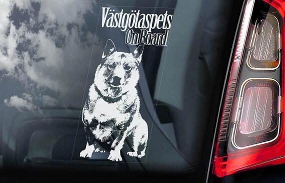 Vastgötaspets on Board - Car Window Sticker - Swedish Vallhund Cattle Dog Sign Decal - V01