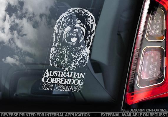 Australian Cobberdog on Board - Car Window Sticker - Cobber Dog Sign Decal Gift - V01