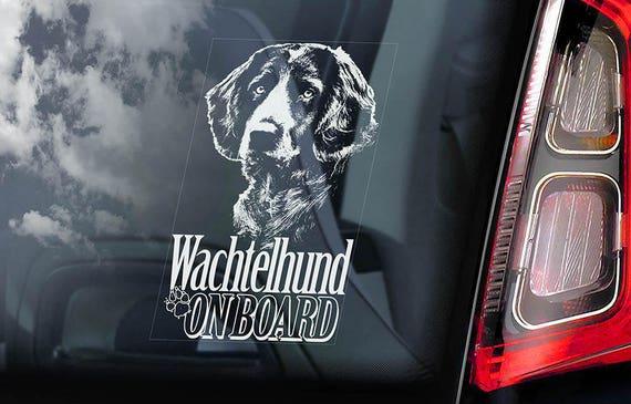 Wachtelhund on Board - Car Window Sticker - Deutscher German Spaniel Dog Sign Decal - V01