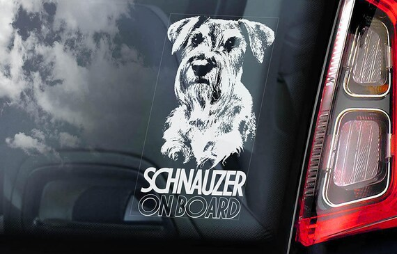 Schnauzer on Board - Car Window Sticker - Standard Miniature Dog Sign Decal Gift - V01