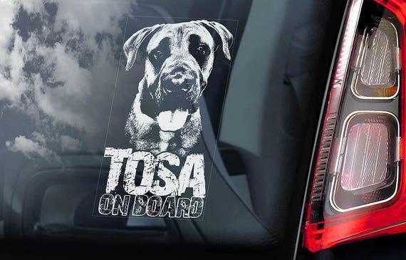 Tosa on Board - Car Window Sticker - Japanese Mastiff Inu Dog Sign Decal Art Gift - V06