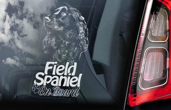 Field Spaniel on Board - Car Window Sticker - Dog Sign Gift Idea Art Decal - V01