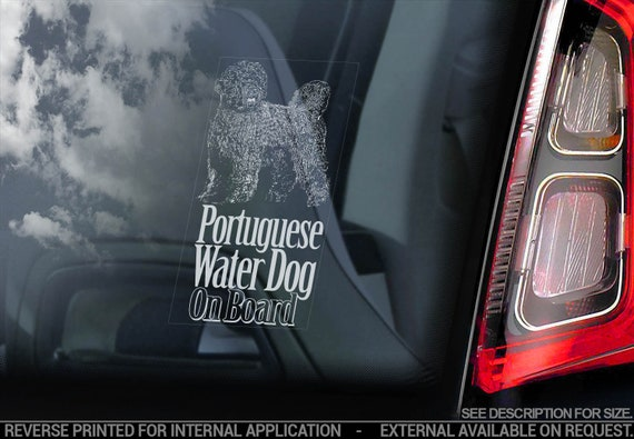Portuguese Water Dog on Board - Car Window Sticker - Cão de Água Português Sign Decal - V03