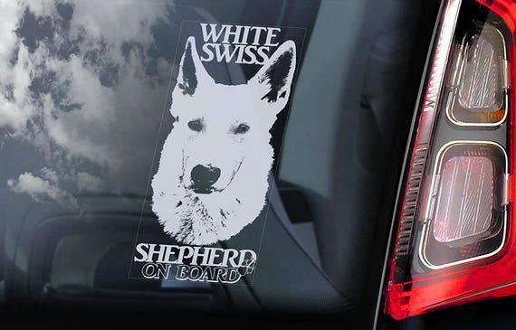White Swiss Shepherd on Board - Car Window Sticker -  Berger Blanc Suisse Dog Vit Herdehund Sign Decal - V01