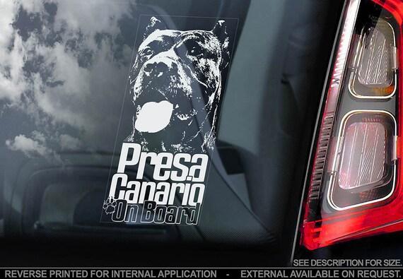 Presa Canario on Board - Car Window Sticker - Dogo Canary Mastiff Dog Sign Decal - V02