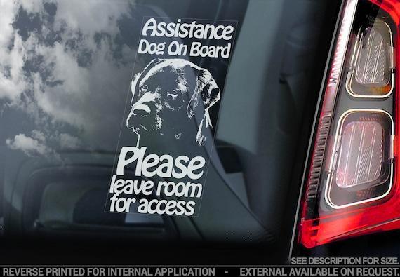 Assistance Dog on Board - Car Window Sticker - Black Labrador Stroke Detection Dog Sign Decal - V16