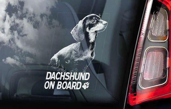 Dachshund on Board - Car Window Sticker - Teckel Dackel Dog Sign Decal - V01