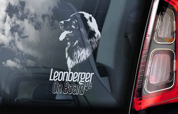 Leonberger on Board - Car Window Sticker - Dog Sign Decal Art Gift - V04