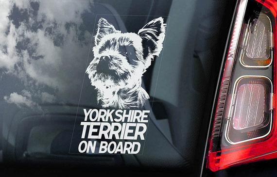 Yorkshire Terrier on Board - Car Window Sticker - Yorkie Sign Decal -V01