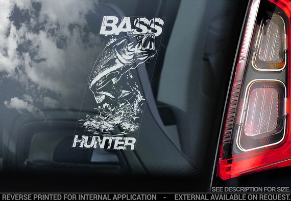 BASS HUNTER, Car Sticker, Fish Gear Fishing Window Bumper Boat Sign Decal - V01