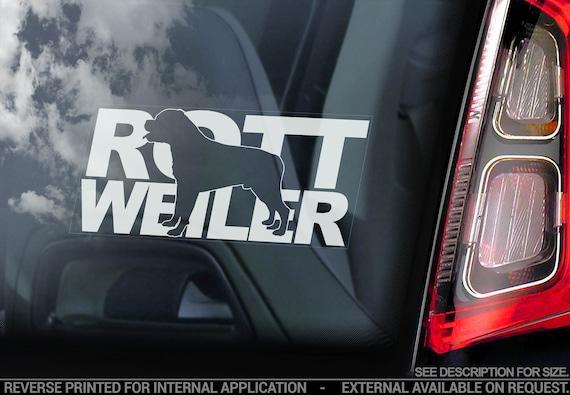 Rottweiler - Car Window Sticker - Rottie on Board Beware of the Dog Sign Bumper Decal - V08