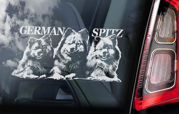 German Spitz on Board - Car Window Sticker - Deutscher Mittelspitz Dog Sign Decal -V02
