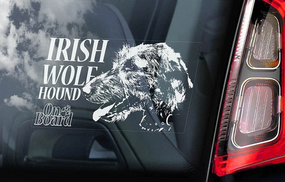 Irish Wolf Hound on Board  - Car Window Sticker - Wolfhound Dog Sign Decal  -V02
