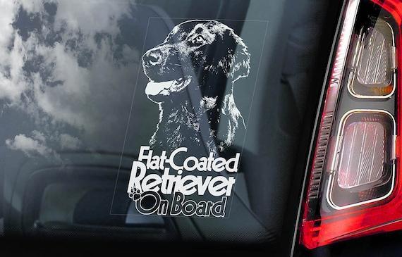 Flat-Coated Retriever on Board - Car Window Sticker - Hunting Dog Sign Gift Decal - V03