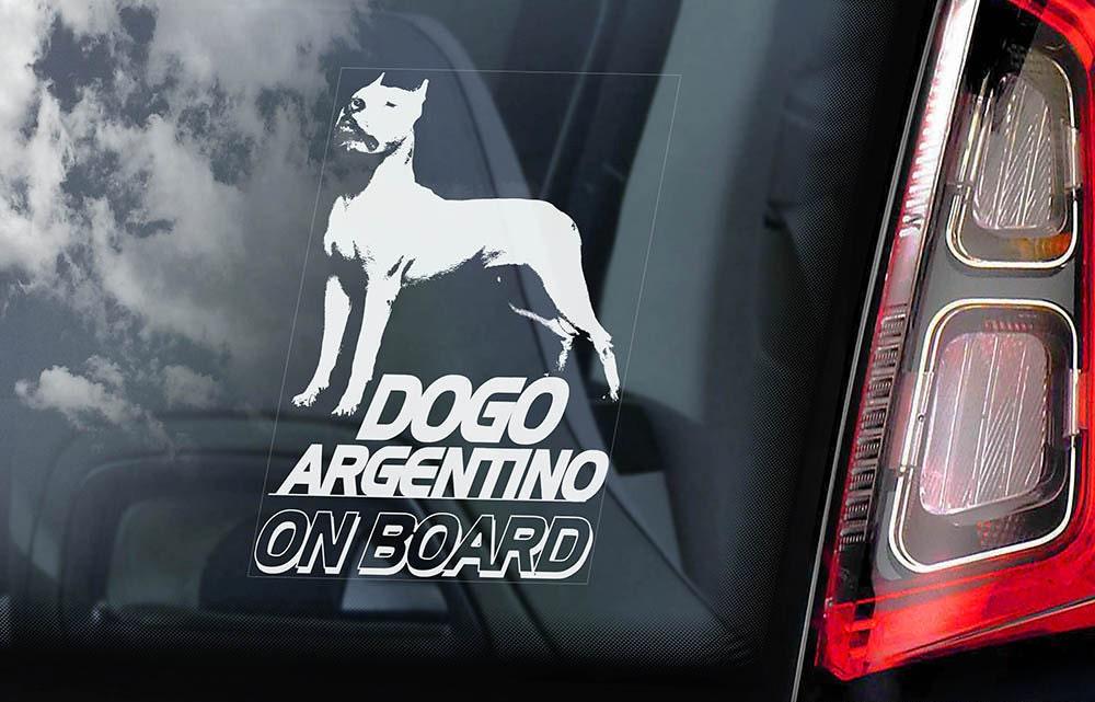 V02 Argentine Mastiff Sign Decal Dogo Argentino on Board Car Window Sticker
