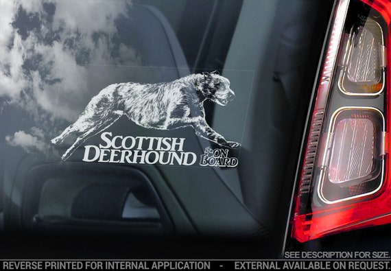 Scottish Deerhound on Board - Car Window Sticker - Dog Sign Decal Gift Art - V02