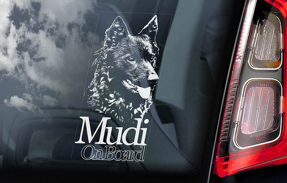 Mudi on Board - Car Window Sticker - Hungarian Dog Sign Decal - V02