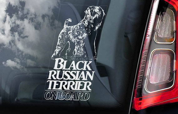 Black Russian Terrier on Board - Car Window Sticker - Tchiorny Dog Sign Decal Art Gift - V01