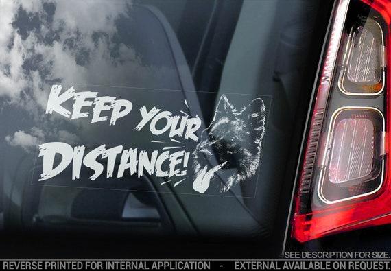 Keep Your Distance! - Car Window Sticker - German Shepherd on Board Alsatian K9 Dog Sign Decal - V23