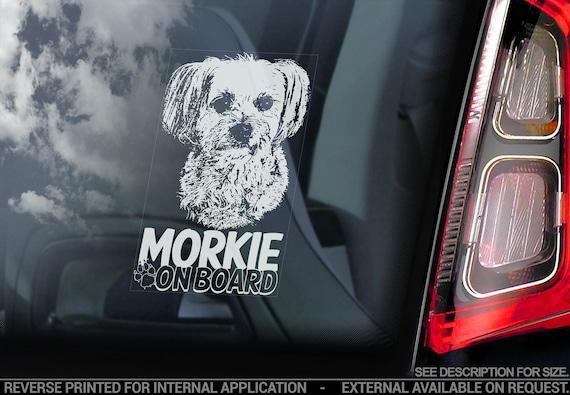 Morkie on Board - Car Window Sticker - Yorkshire Terrier Maltese Hybrid Breed Dog Sign Decal - V02
