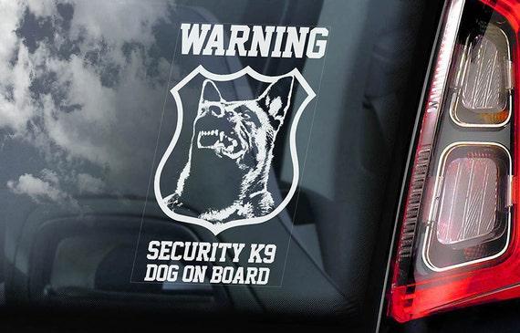 Security K9 Dog on Board - Car Window Sticker - Belgian Malinois Mechelse Herder Security K9 Sign Decal  -V08