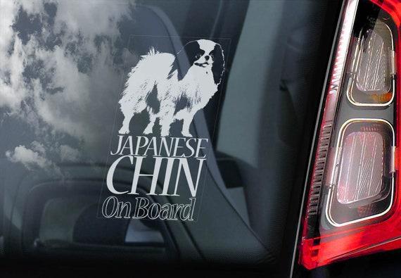 Japanese Chin on Board  - Car Window Sticker - Spaniel Dog Sign Decal  -V01