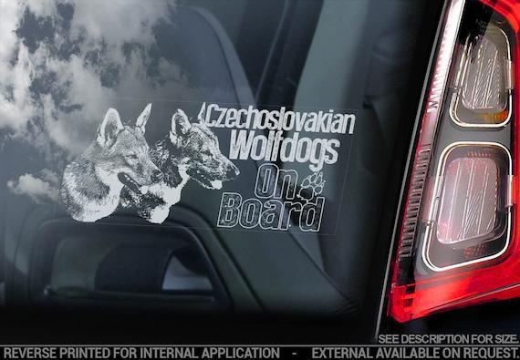 Czechoslovakian Wolfdogs on Board - Car Window Sticker - Vlcak Cane Lupo Cecoslovacco Sign Decal - V22