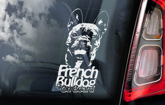 French Bulldog on Board - Car Window Sticker - Bouledogue Français Dog Sign Decal Uncropped -V02