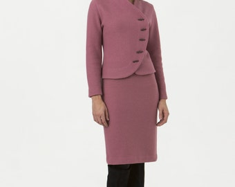 Womens Suit Jacket Pink Boiled Wool