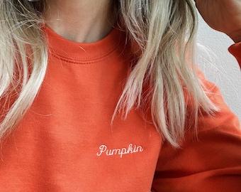 Pumpkin Embroidered Crewneck Sweatshirt, Pumpkin Sweatshirt, Fall Sweatshirt, Halloween Sweatshirt, Thanksgiving Sweatshirt