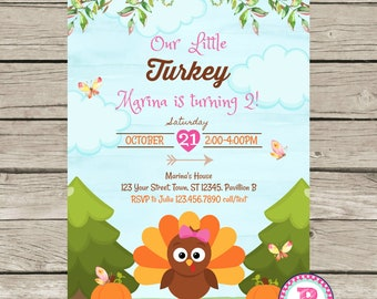 Our Little Turkey Birthday Party Invitation Thanksgiving Turning Two Fall Pumpkins Watercolor 1st 2nd