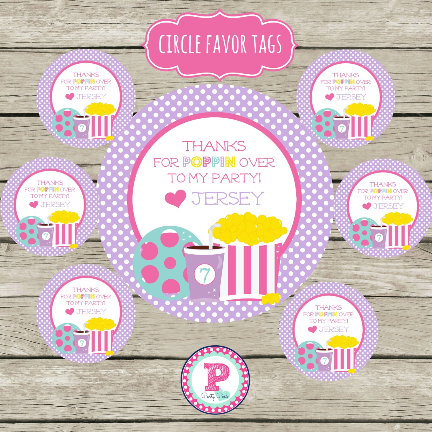 Personalized Movie Birthday Party Favor Tags 2 inch Circle | Etsy