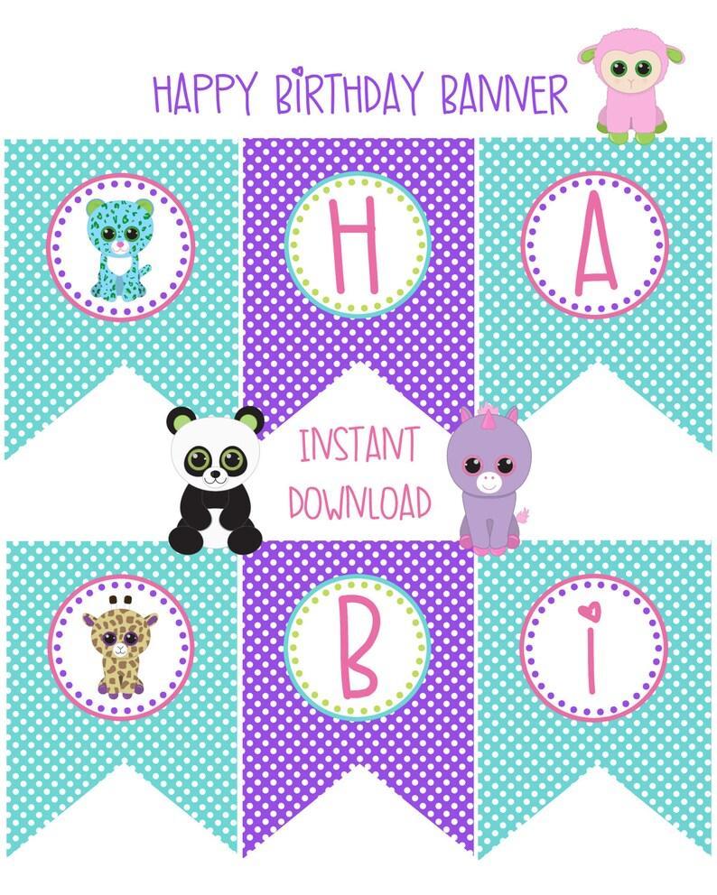 Pet Adoption Adopt A Pet Party Birthday Party Happy Birthday Banner Printable Puppy Kitten Stuffed Animals Panda Bear Unicorn