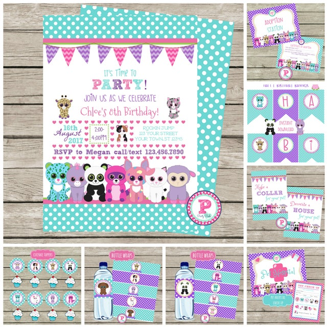 Birthday Party Package Printable Adopt a Pet Party Stuffed   Etsy