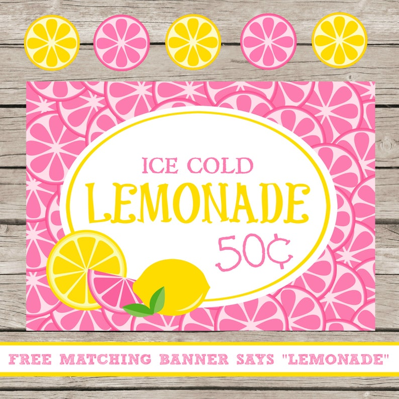 Lemonade Stand Printables Kids Summer Business Ideas Selling Lemonade Ice  Cold Lemonade Pink Yellow Banner Sign Lemons For Sale Ice Cold