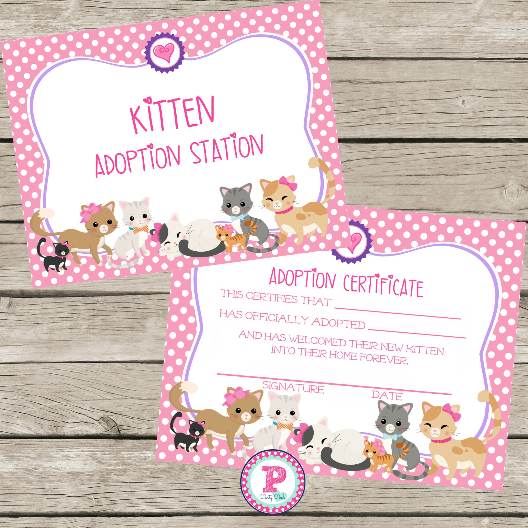 Kitten Adoption Certificate Birthday Party Ideas Polka Dot | Etsy