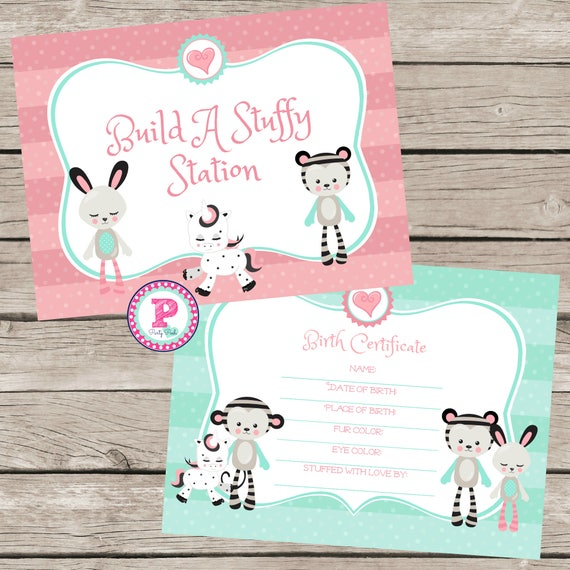 Build A Stuffed Animal Birthday Party Birth Certificate Adopt Etsy
