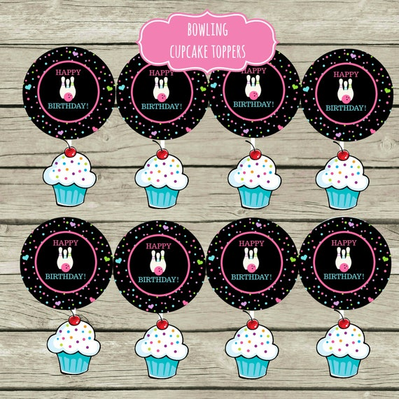 Bowling Birthday Party Cupcake Toppers Stickers Printable Etsy